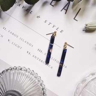 La Don - Stone Strips - Dark Blue Black Ear Pins