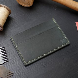 [Christmas limited offer] simple business card holder - dark green [Fu Lie area carved leather]