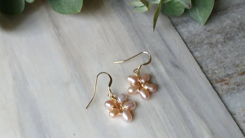 Freshwater rice pink pearl 14K gold earrings Pink water pearl 14KGF earring