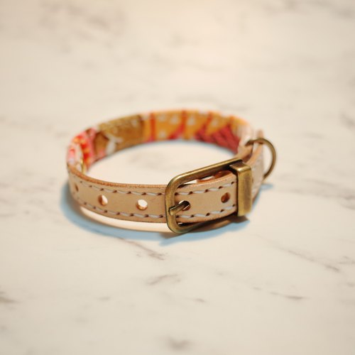 Dog & Cats collars, S size, Pink and cute animal live in the forest