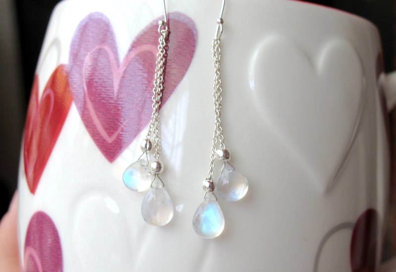 [Earrings Series - Light Rock Candy] Moonstone x 925 Tremella Fungus - Hand-made Natural Stone Series