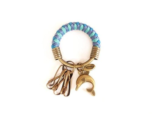 [Na UNA- excellent hand-made] key ring (small) 5.3CM bright blue + green + violet + lake love dolphins wax hand-woven rope hoop customization