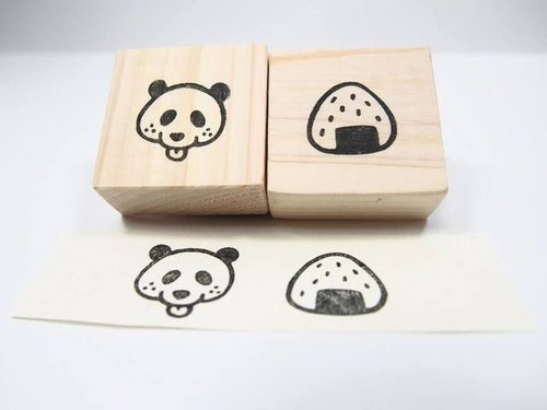 Panda onigiri sesame and freckle 2 pieces set stamp