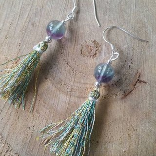 Purple blue fluorite, sterling silver beads, silver green long stream of pure silver earrings flourite, silver ball and tassel 925 silver earring