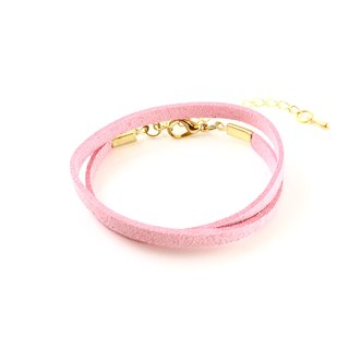 Pale pink - suede roping bracelet (also can be used as a necklace)