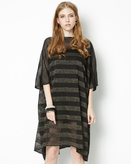 三穿式條紋洋裝(附皮帶/內搭背心)Stripe Dress in Three Wearing Style (with Belt and Cami Top)