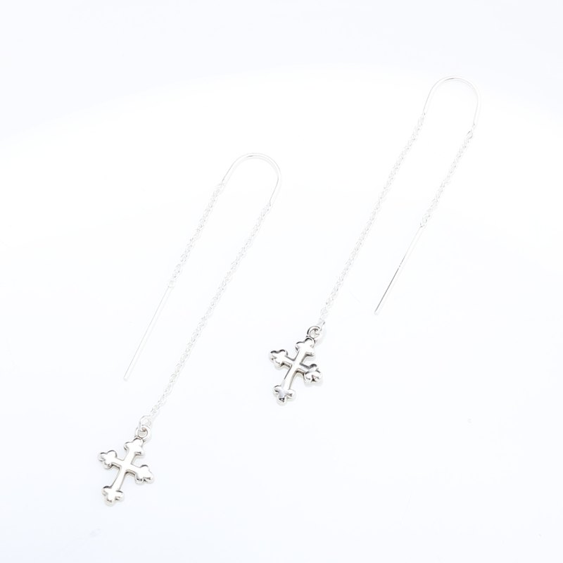 Budded Cross s925 sterling silver earrings Valentine's Day Birthday gift