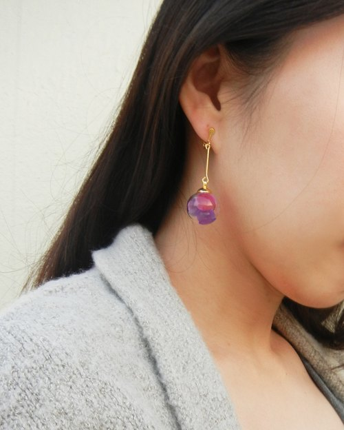*checoubird*purple double jelly earrings