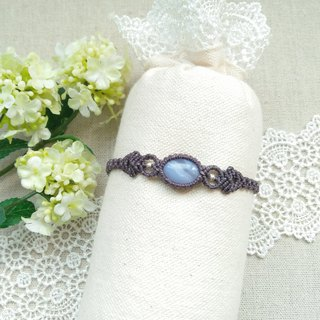 BUHO hand-made. Water lily. Blue Agate X South American Brazilian Wax Line Bracelet