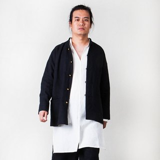 Cotton and cotton buckle new Chinese men's jacket - [desert] independent designer brand
