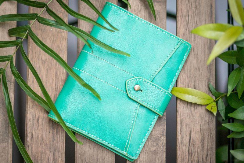 One Fit All Mint Green Genuine Leather Travel Passport Case Wallet