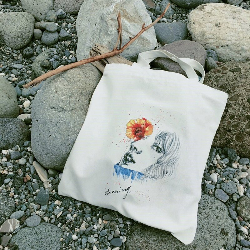 Girl, cotton canvas bag, hand-made printing, original design