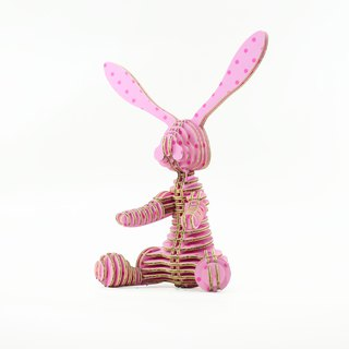 Rabbit 3D Handmade DIY Home Decoration Pink Wave Point