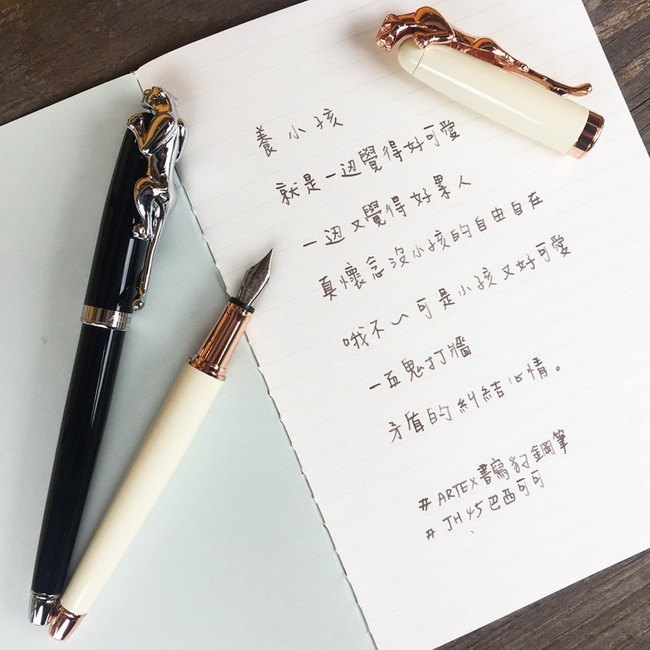 ARTEX writer has a writing leopard black tube silver leopard pen