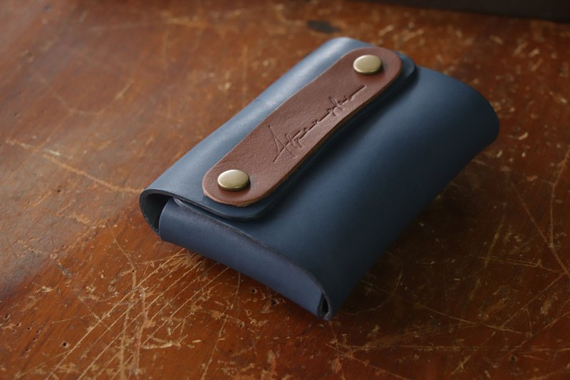 Vegetable tanned leather business card holder large capacity | vegetable tanned blue + brown
