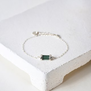 Simple green cylindrical natural tourmaline with 925 silver bracelet // tourmaline // October birthday stone