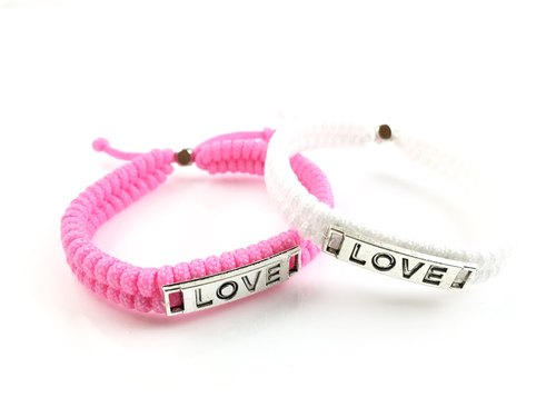 Valentine's flagship product - LOVE [Love] hand rope combination together away! (pink white)