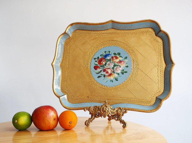 Italian handmade wooden water blue tray