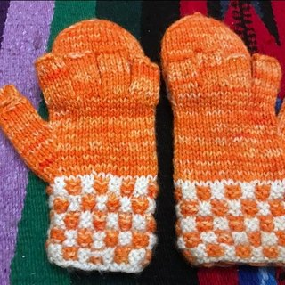 Handmade Peruvian wool cap Gloves - Orange