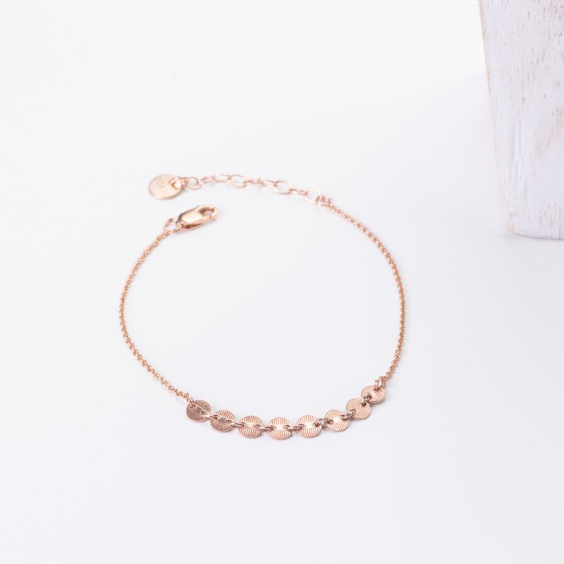 MALTA Bracelet and its dainty chain in 14k Rose Gold-Filled, Gold coin bracelet