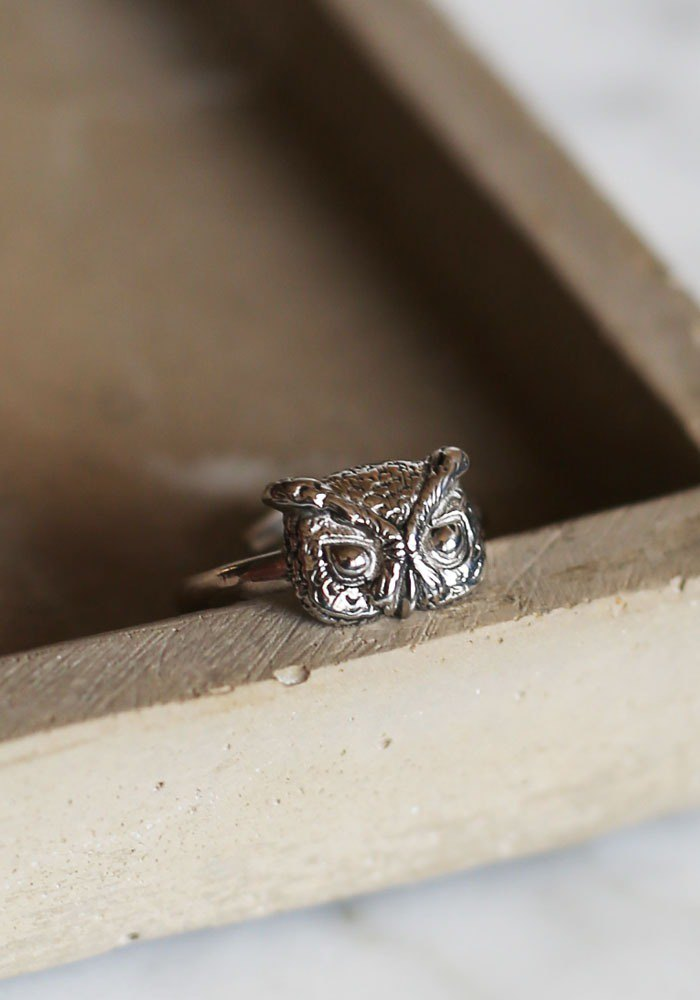 Petite Fille Female Unfinished Silver Handmade Little Owl Horned Silver Ring
