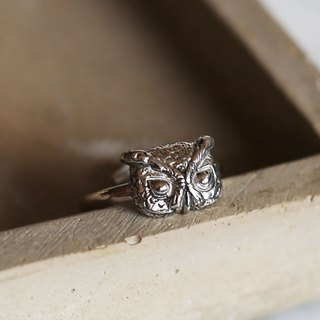 Petite Fille Women's Unfinished Silver Mini Collection Small Owl Horn Silver Ring