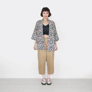 Colorful leaves vintage pattern vintage feather kimono jacket blouse BK7008