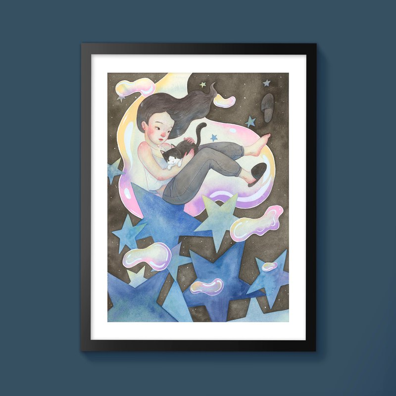 Dreaming with Cats Blue Version | Illustration Print