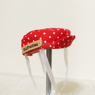 Ella Wang Design Hat Pet Cap Ducks Cats and Dogs Red Water Jade Dots