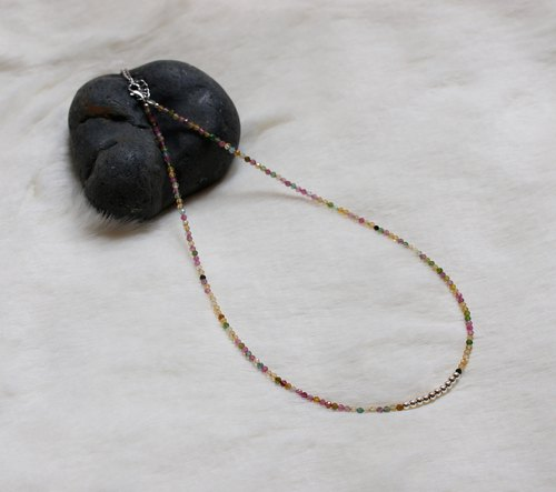 Tourmaline Silver 925 Necklace with Linear Memory Alloy
