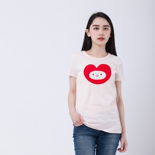 heart & red face peach cotton T-shirt Women / pink