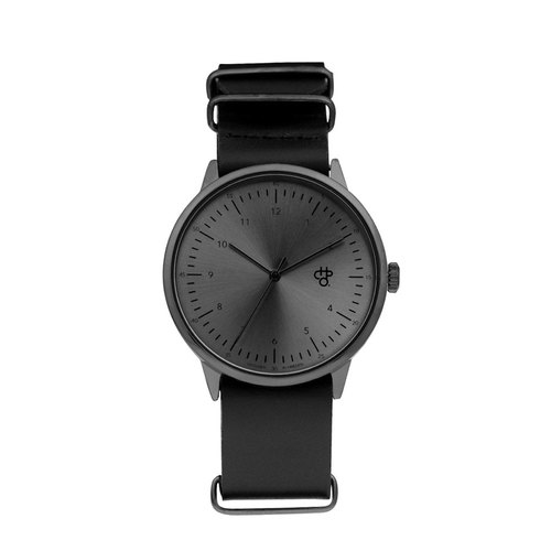 Harold Black Dial Black Military Leather Watch