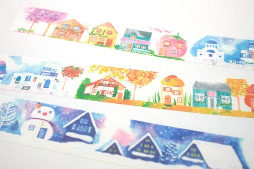 Four Seasons Cottage (Watercolor) Paper Tape - 2.5cm x 10M (50cm Cycle Chart)