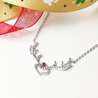 Rudolph Natural Ruby Reindeer Horn Necklace Hand Made Silver Silver925 Reindeer