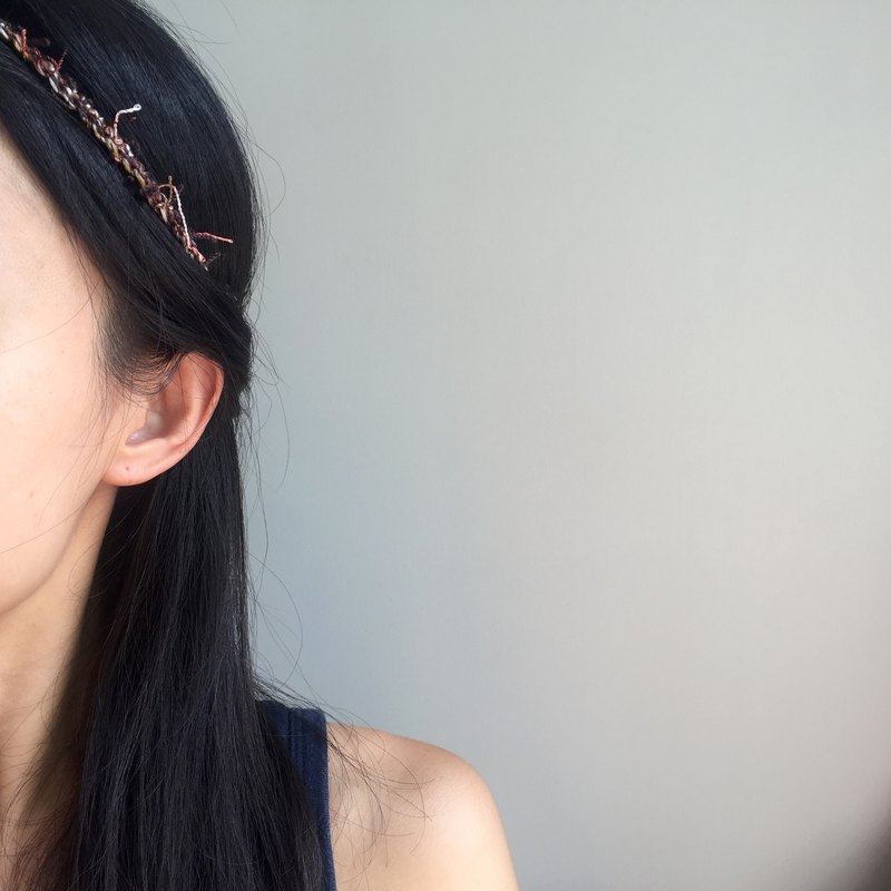 Super slim crochet headband  |  ethnic style  |  earth tone-dark brown