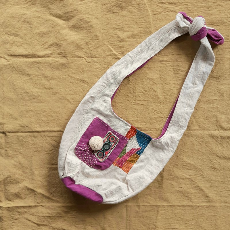 Hemp fiber embroidery patchwork dual-use bag - grape purple