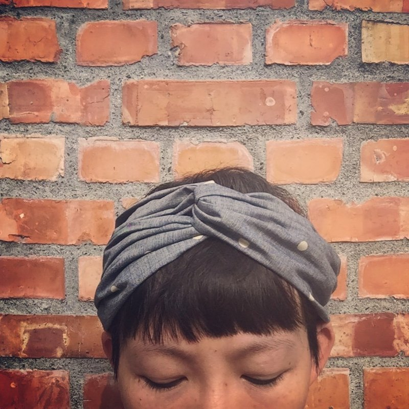 Cotton thin denim dot wide headband