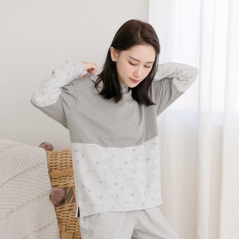 有機棉拼接Umorfil美膚膠原蛋白連帽保暖居家服 | 睡衣居家服-拼接灰/情人節禮物