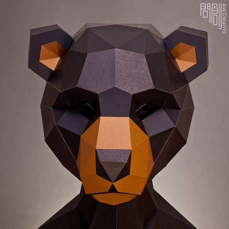 DIY Handmade 3D Paper Model Gift Decoration Mask Series-Black Bear Mask