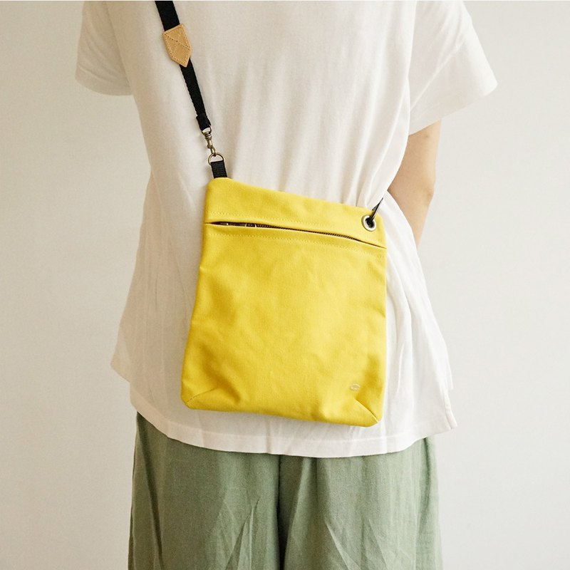 Mushroom Mogu / Side Canvas Bag / Lemon Yellow / Manifest