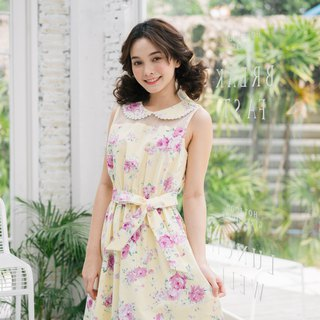 Collar Dress Cotton Dress Yellow Floral Summer Dress Vintage Style