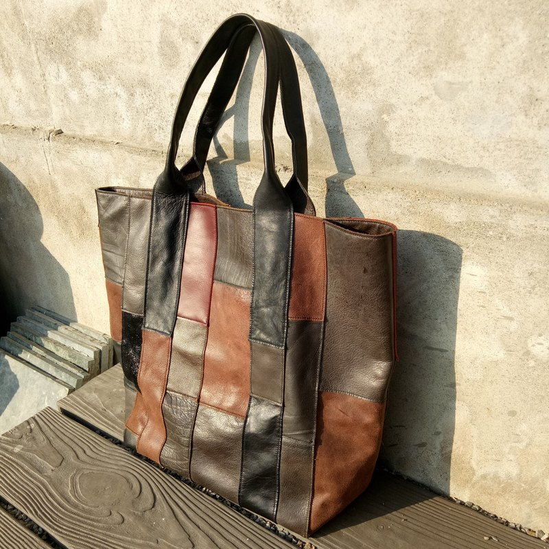 Mixed color earthen leather bag - full hand seam / full leather