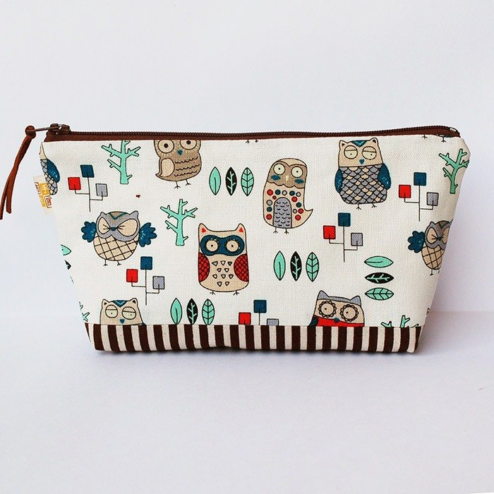 Variety owl wide bottom large pencil bag / left 1
