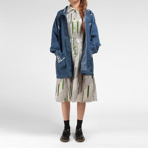 │moderato│vintage stitching Plaid shirt pocket denim jacket / retro girl Japanese boy. Young artists. Personalized boyfriend