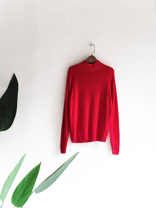 River Water Hill - elegant Paris flaming red small stand-up antique cashmere Kashmir coat vintage sweater cashmere vintage oversize