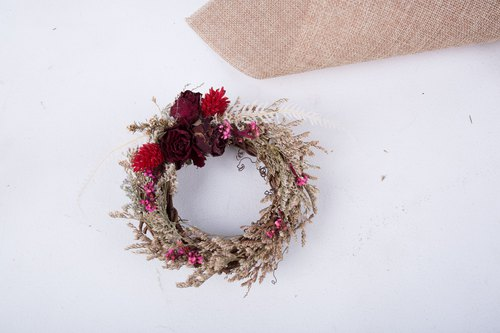 Mini Wreath / Wedding Stuff / Dry Flower / Dry Wreath / Valentine's Day Gift / Christmas Wreath