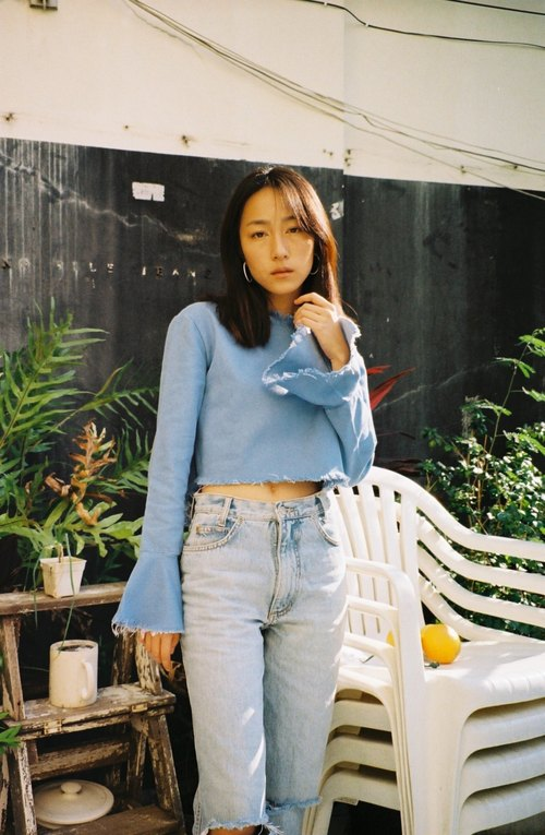 Blue denim bell sleeve top