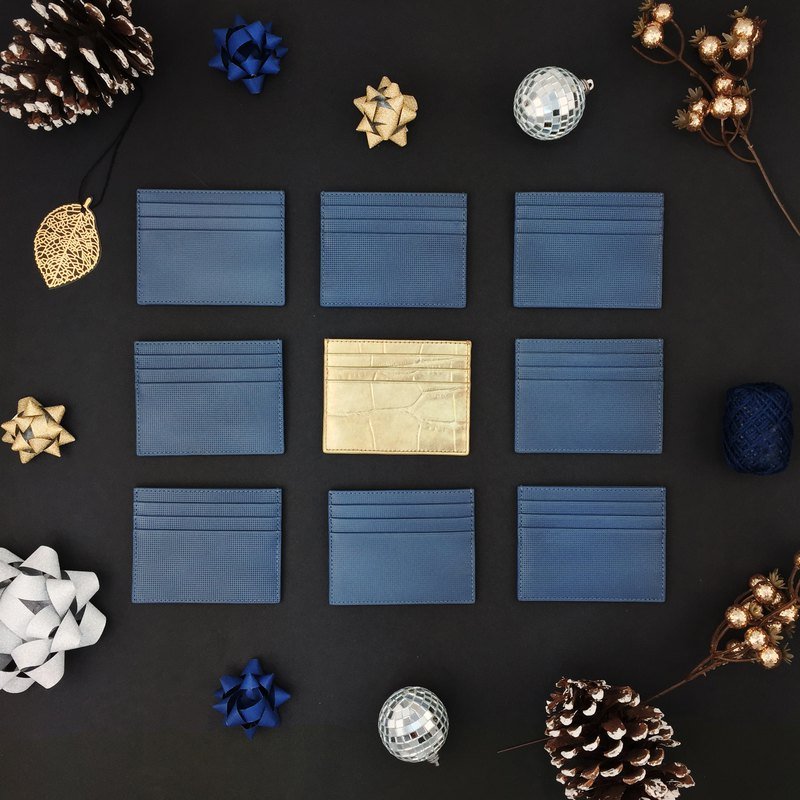 Card blue italian cowhide card set