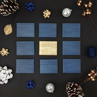 Blue Italian cowhide card set