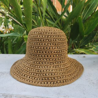 A mother's hand-made cap - summer straw hat / simple cross pattern / brown / gift /